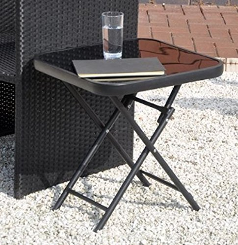 Garden Folding Side Table Glass Top Drinks Patio Furniture Yard Deck Black Po