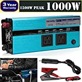 Newest 1000W (1500W Peak) Car Power Inverter DC 12V to AC 110V Digital Display Converter 4 USB Charging Ports 2 Outlets with Cigarette Lighter Plug Cord & Battery Clamps, 3 Year Warranty (Tamaño: 1000W Power inverter)