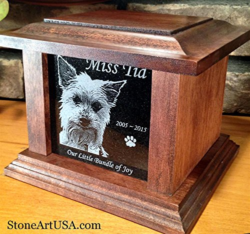 Pet Cremation Memorial Urn by Eric @ StoneArtUSA / Small Dark Wood & Granite Stone for pets up to 48 lbs. / Custom Picture Personalized Engraved Laser Etched Photo Marker Dog Cat Pet Ashes