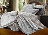 Luk Oil Home Textile Elegant Modern Design Luxury Palace Reactive Printing 4 Piece Bedding Set Full Cotton Satin Jacquard Embroidered Duvet Covers Grey Embroidery Bedclothes Fashion Flounce Bed Sheets King Size
