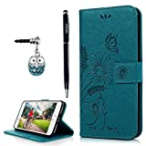 YOKIRIN iPhone 7 Plus Wallet Case, iPhone 8 Plus Case, Embossed Ant Flower Flip Magnet Closure Premium PU Leather Soft TPU Inner Case Credit Card Slots Protective Cover with Dust Plug & Pen - Blue