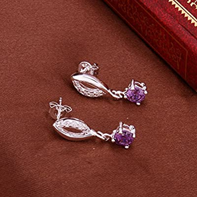 SunIfSnow Women Beautiful Sapphire Inlaid Lips Drop Earrings purple