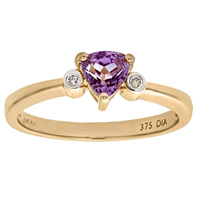 Naava 9ct Yellow Gold Triangular Amethyst And Diamond 3 Stone Ring