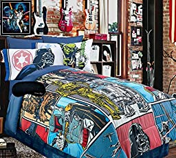 New! Classic Star Wars Comic QUEEN SUPERSET! Comforter, Sheet Set + Home Style Sleep Mask (6 Pc. Bedding Bundle) (QUEEN with Darth Vader/Yoda Sheets)