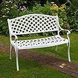 Lazy Susan Furniture - Jasmine Metal Garden Bench White