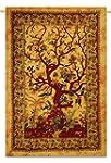 Orange Tree Of Life Tapestry Cotton B...