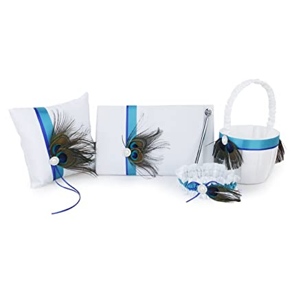 Nuolux Delicate Peacock Feather Decor Wedding Guest Book+Pen+Ring Pillow+Flower Basket+Garter Set for Wedding Ceremony Party (White)