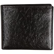 RFID Blocking Mens 11 Card Bifold Flip Style Leather Wallet (Black-Ostrich)