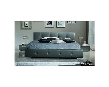 lit design capitonn banas gris gris 140cmx190cm sans matelas sans sommier cuisine. Black Bedroom Furniture Sets. Home Design Ideas