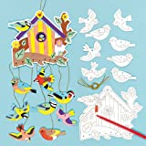 Bird House Colour-in Mobiles Hanging Decoration (Pack of 4)