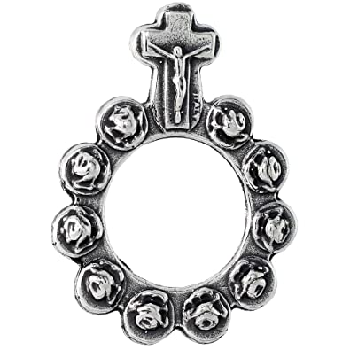 "Revoni Sterling Silver Single Decade / One Mystery Ring Rosary, 1 7/16"" (37mm) tall"