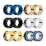HuaCanEar Piercing Jewelry 316StainlessSteelEarExpanderScrew6PcsMixedColorDoubleEarPlugsTunnelSetEarrings for Unisex 2g-3/4