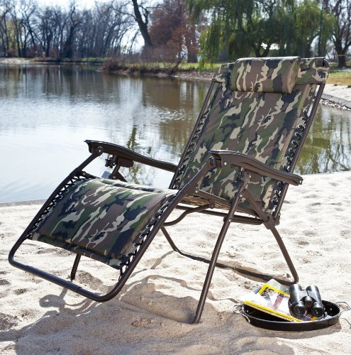 Camouflage Extra Wide Padded Zero Gravity Lounge Chair front-296073