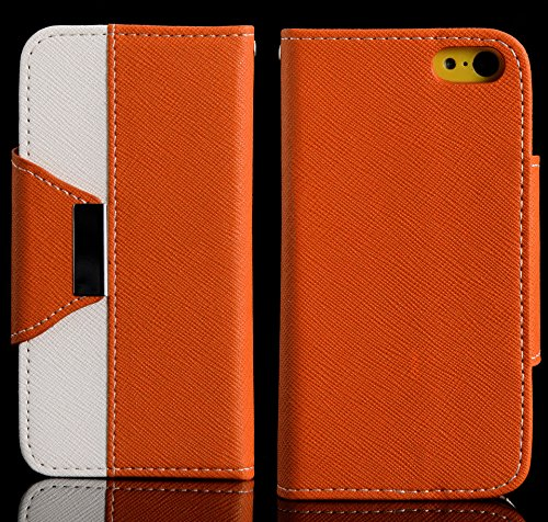 Mylife (Tm) Pumpkin Orange And Pure White {Classic Design} Faux Leather (Card, Cash And Id Holder + Magnetic Closing + Hand Strap) Slim Wallet For The Iphone 5C Smartphone By Apple (External Textured Synthetic Leather With Magnetic Clip + Internal Secure
