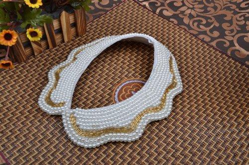 Fashion Artificial Pearl Beaded Gold Macrame Collar Necklace Fake Collar