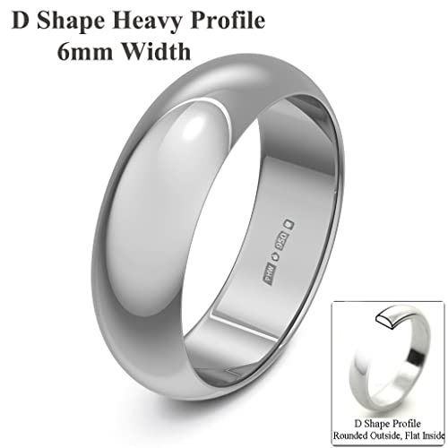 Xzara Jewellery - Platinum 6mm Heavy D Shape Hallmarked Ladies/Gents 9.0 Grams Wedding Ring Band