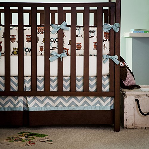 Retro Owls Crib Skirt 20-Inch Box-Pleat With 4-Inch Trim And Accent front-335443