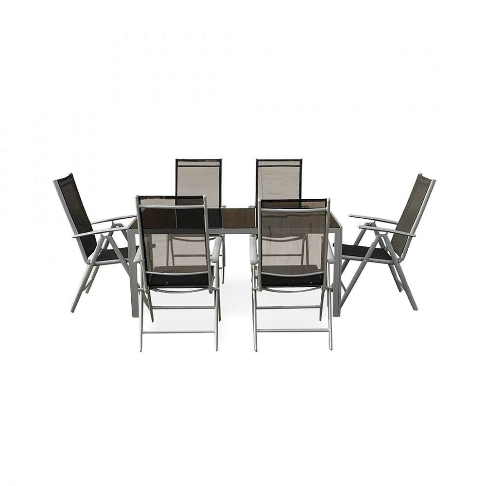 aluminium gartenm bel set tisch 160cm 6 st hle gartentisch catania g nstig. Black Bedroom Furniture Sets. Home Design Ideas