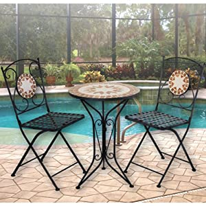 mosaic bistro set table and two chairs