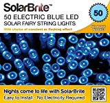 Solar Fairy Lights 50LED Blue Super Bright Decorative String, choice of light effect. Ideal for Trees, Gardens, Parties & More... (Blue, 50LED)