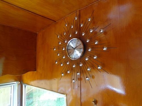 Amazon Com Lexmod Silver Starburst Wall Clock Retro