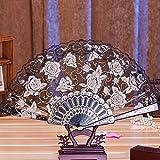Binmer(TM) Multi-color Dance Party Wedding Lace Flower Folding Hand Held Flower Fan Chinese Fans (Black)