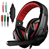 YuCool Gaming Headset,3.5mm Wired Bass Stereo Noise Isolation Gaming Headphones with Mic for Laptop Computer,Cellphone,PS4 and so on-Volume Control(Black and Red) (Color: 1*Black and Red)