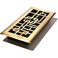 Decor Grates ABH212-SB 2x12 Arts & Crafts Plated Abstract Floor Register (Satin Brass)