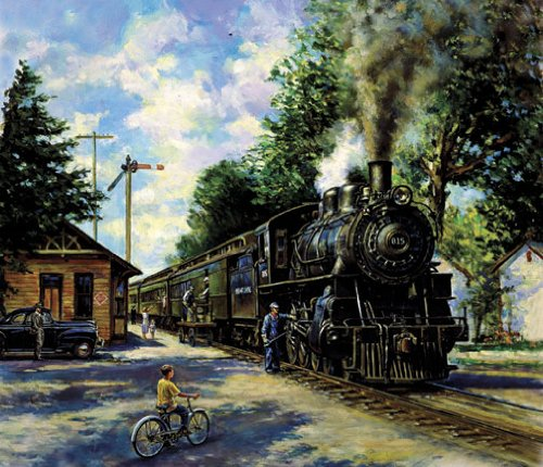 2 TRAIN PRINTS STEAM ENGINE FISHING ANTIQUE STATION SET