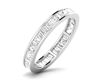 F/SI 1.40 ct Tapered Cut Diamonds Full Eternity Wedding Ring in 9K White Gold