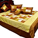 Ufc Mart Designer Golden Brown Silk Double Bedcover Set, Color: Brown, #Ufc00370