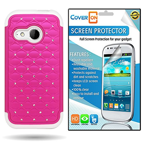 Bundle By Coveron® For Htc One Mini 2 / One Remix Hybrid Diamond Case With Clear Anti-Glare Lcd Screen Protector - Rose Pink + White