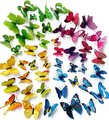 Amaonm 96pcs 8 Packages 3d Butterfly Wall Stickers Murals Removable DIY Butterflies Wall Decals Wall Art Decor...