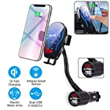 itkidboy Car Cigarette Lighter Wireless Charger, Phone Holder Mount Infrared Smart Sensing Automatic Clamping 11W Qi Fast Wireless Charging Cradle for Cell Phone Dual USB (Black) (Color: black)