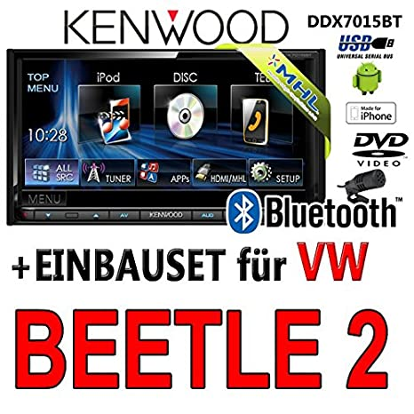 Volkswagen beetle dDX7015BT kenwood - 2-dIN 2 multimédia hDMI/mHL dVD bluetooth uSB avec kit de montage