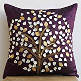Plum Hope Tree - 16x16 inches Square Decorative Plum Silk Throw Pillow Covers with Mother Of Pearl & Sequins Embroidery