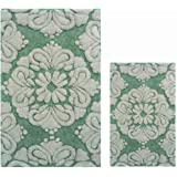 Better Trends / Pan Overseas Medallion 170 GSF 100-Percent Cotton 2-Piece Luxury Tufted Bath Rug Set, 21 by 34/17 by 24-Inch, Sage/Natural