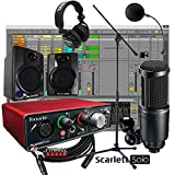 Focusrite Scarlett Solo USB 2x2 Home Recording Bundle w/ AV30 Monitors AT2020