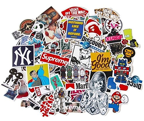 StickerFactory, confezione da 150 Adesivi in vinile, diversi stili assortiti, Trendy, da paraurti, per portatili Apple Macbook, Skateboard e Snowboard, bici, mobili, Trolley, adesivi misti, Vintage, Pop Art, motivo: Graffiti Super Cool