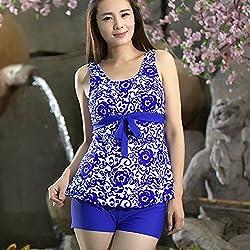 Krivani Women's Beach Wear (BW101_Blue_XL)