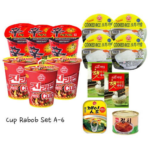 Cup Rabob Set A-6 (Jin Ramen Spicy Cup x3, Shin Ramen Cup x3, Cooked White Rice x4, Toaste Seaweed Wrap x2, Canned Seasoned Sesame Leaves, Canned Kimchi) 컵라밥세트 A-6 (진라면 매운맛 컵 x3, 신라면 컵 x3, 오뚜기 흰밥 x4, 도시락김 x2, 양념깻잎 x1, 도시락 김치x1) (Canned Kimchi compare prices)