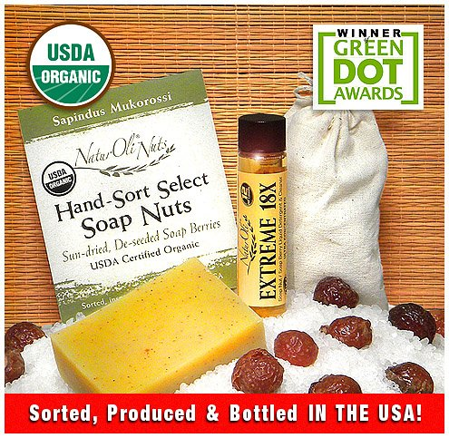 Naturoli Trial Soap Nuts Combo Set: Large Usda Organic Soap Nut Sampler + Extreme 18X Soapberry Liquid Laundry Detergent & Cleaner Concentrate + Natural Soap Nut Cleansing Bar