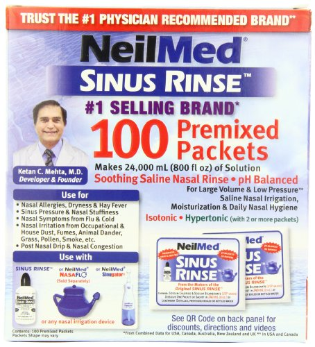 NeilMed's Sinus Rinse Pre-Mixed Packets, 100-Count