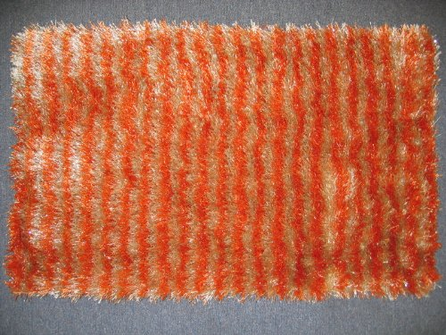 Dada Bedding Rug20X32Js-22 Polyester Shaggy Carpet, 20 By 32-Inch, Stripe Cream/Orange front-736303