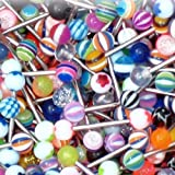 Tongue Ring Assorted Lot of 20 Surgical Steel Piercing Barbells 14 Gauge No Duplicates (20 Pieces)