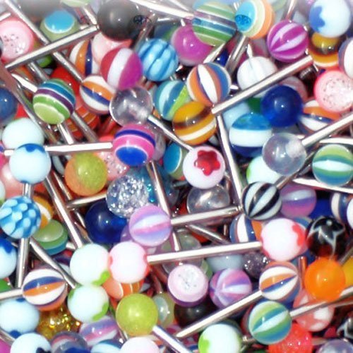 Tongue Ring Assorted Lot of 5 Piercing Barbells Surgical Steel 14 Gauge (5 Pieces)