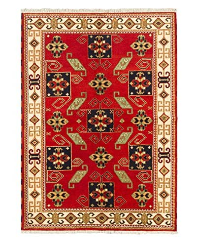 Hand-Knotted Royal Kazak Wool Rug, Red, 5' 8 x 8'