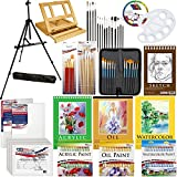 "US Art Supply® 132-Piece Deluxe Artist Painting Set with, Aluminum Floor Easel, Wood Drawer Table Easel, 24-Tubes Acrylic Colors, 24-Tubes Oil Colors, 24-Tubes Watercolor Colors, 9""x12"" Acrylic Painting Paper Pad, 9""x12"" Oil Painting Paper Pad, 9""x12"" Heavy Wt Watercolor Painting Paper Pad, 5.5""x8.5"" Spiral Binding Sketch Pad, 6-each 8""x10"" Canvas Panels, 2-each 11""x14"" Stretched Canvases, 44 Artist Brushes, Plastic Palette with 10 Wells & Now Includes a FREE Color Mixing Wheel"