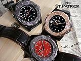 回転ベゼル自動巻き腕時計◆赤文字盤★スワロフスキー使用/ステンレス仕様/本牛革ベルト/ルーペ付