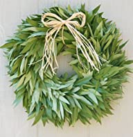 Bay Leaf Wreath with Raffia Bow